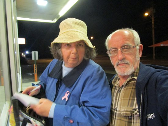 Cranston, RI: Louis and I outside of Dunkin Donuts.