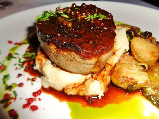 The Terrace Restaurant: Blue cheese crust, grass fed black Angus filet Mignon w/ roasted brussel sprouts