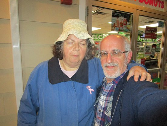 Cranston, RI: Louis and I standing outside of Dunkin Donuts.