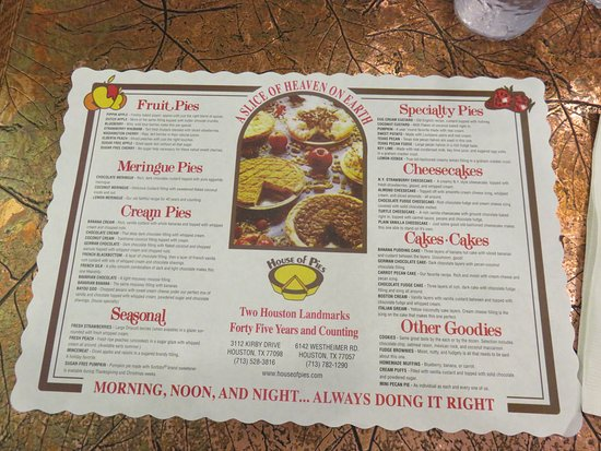 House Of Pies: Table Menu