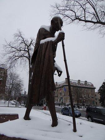 Ghandi in the snow beautiful Picture of Mahatma Gandhi