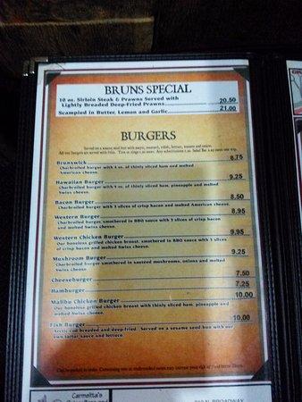 Othello, WA: Burger menu