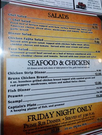 Othello, WA: Salad, seafood & chicken menu