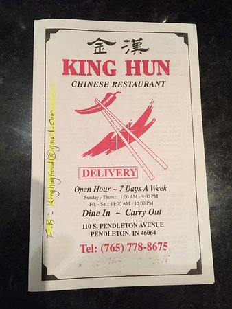 Pendleton, IN: Menu and Hunan Chicken