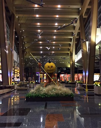 aria resort casino hotel lobby areas decorated for halloween