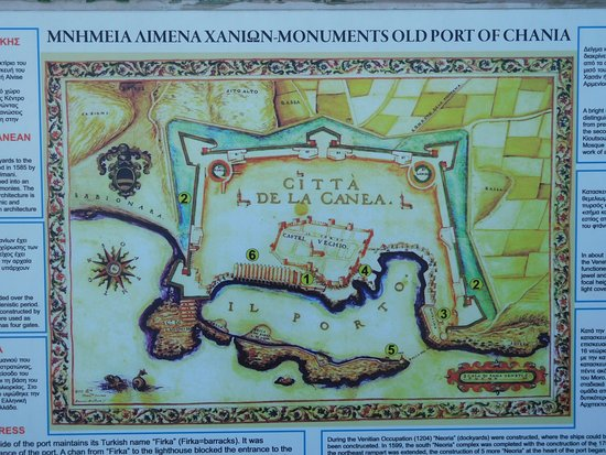 Chania Harbor Map Picture of Old Venetian Harbor Chania Town