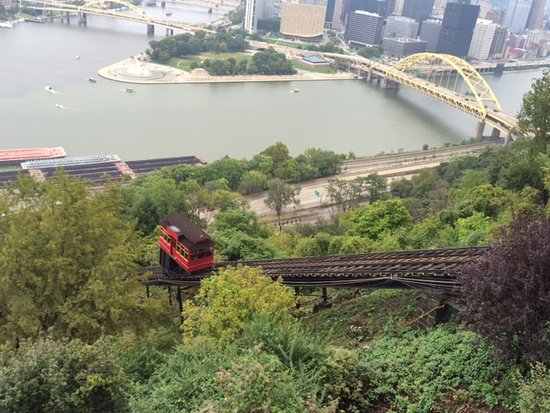 Duquesne Incline: Looking down at the Incline railroad
