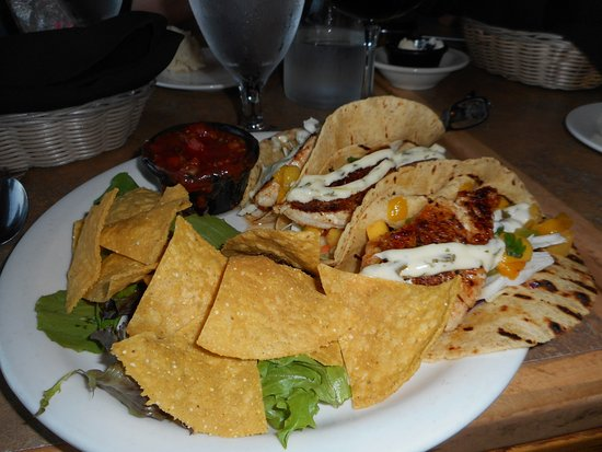 Tumwater, WA: Halibut tacos; very tasty and easy to eat wrapped in two taco shells