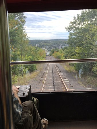 Hancock, MI: Going down the tram track into the seventh-floor entrance of the mine.
