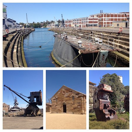 Cockatoo Island, Avustralya: Fitzroy Dock hand cut in the mid 1800's by convicts, sandstone church, old cranes and a beam ben