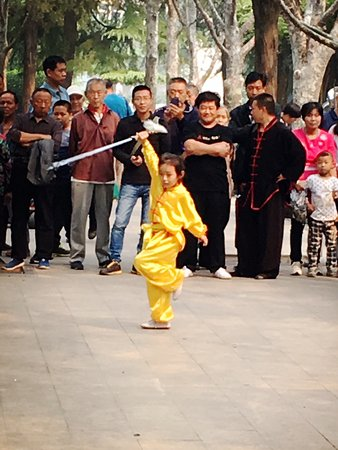 Young girl doing kung fu at Chang'an Park, Shijiazhuang