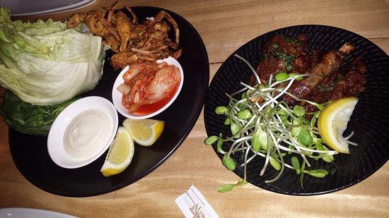 East Fremantle, Australia: soft shell crab, kimchi, iceberg and lamb ribs, rosemary, black pepper