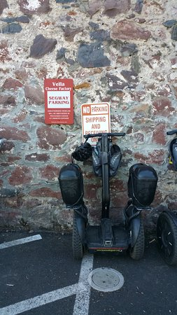 Sonoma Segway: Segway parking at Vella Cheese factory/shop.