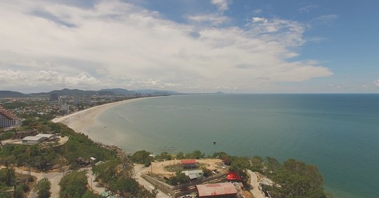 Drone - view of beach from Wat Khao Takiap