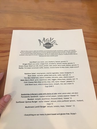 Mana Foods: Beautifully decorated Delicious menu