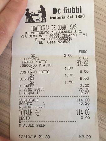 Creazzo, Ιταλία: conto