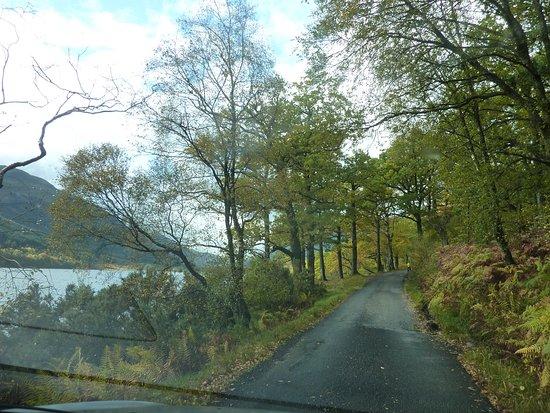 "Balquhidder, UK: Single track ""scenic Road"" from Balqhidder to Mhor Hotel alongside the Loch"