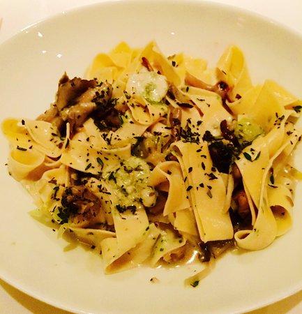 Herb Pappardelle wild mushrooms, leeks, garlic, thyme, white wine, gorgonzola