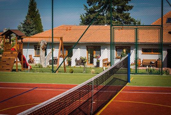Mikulov, Tsjekkia: Tenisové a dětské hřiště na penzionu Proneco.