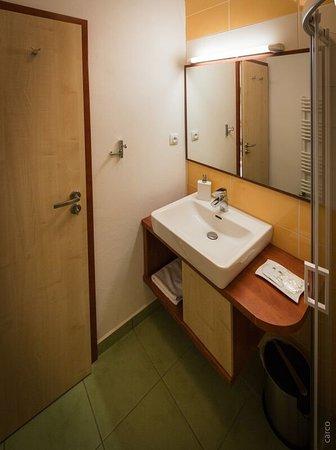 Mikulov, Tsjekkia: Koupelna penzionu Proneco u pokojů s terasou.