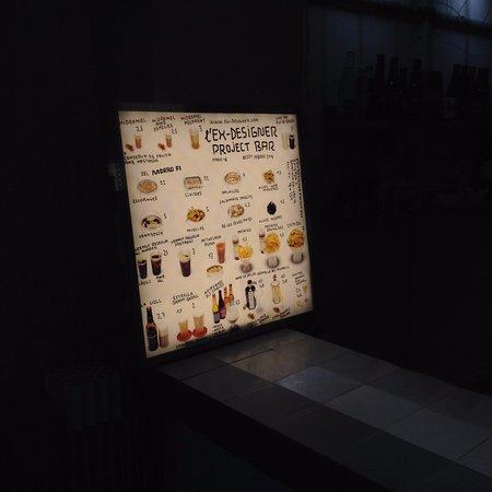 L'Ex-Designer Project Bar: el menú