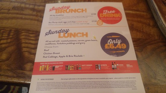 Hungry Horse - The Matchstick Man: Ordered sunday brunch- no free drink after 12 noon- not in t+c's