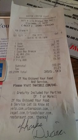 Boston Lobster Feast, Kissimmee - Menu, Prices ...