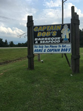 Captain Bob's BBQ & Seafood : Sign in front of restaurant, on Rte. 17 South