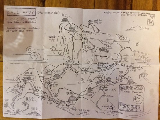 Emeishan, Chine : Map of the routes up the mountain. There is no scale on the map!