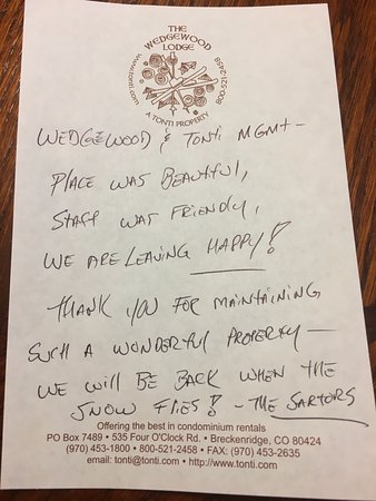 Wedgewood Lodge: our personal thank you :)