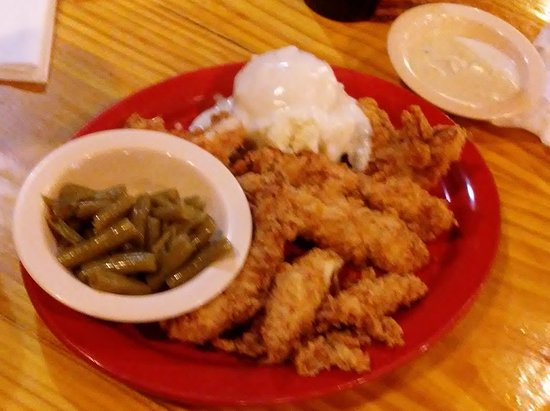 ‪‪Purcell‬, ‪Oklahoma‬: Chicken Strips, Green Beans, Mashed Potatoes w/gravy, gravy on the side‬