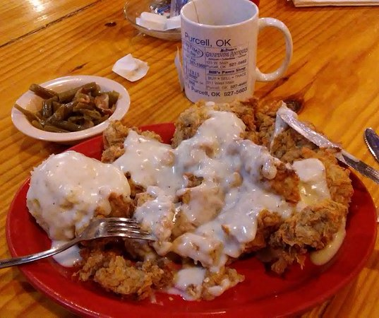 Purcell, OK: Chicken Fried Steak w/gravy, Mashed Potatoes w/gravy, Green Beans