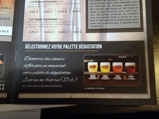 Noyon, ฝรั่งเศส: Beer flights on the menu