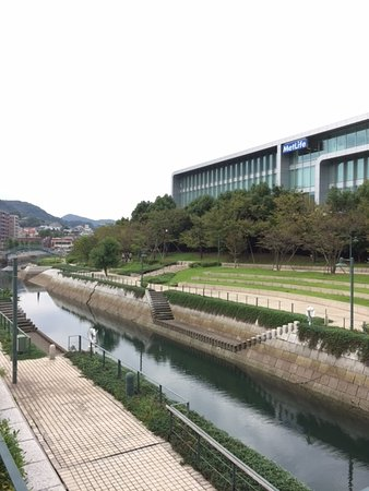 Nagasaki Seaside Park: 公園の中の運河