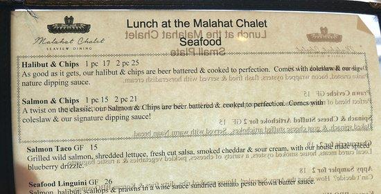 Malahat, Canadá: Ein Teil der Speisekarte
