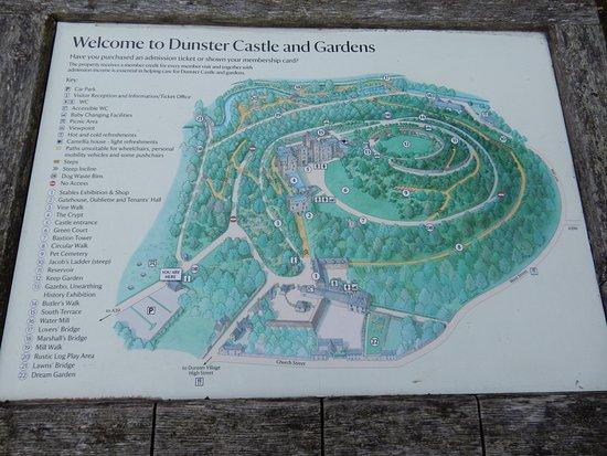 map of Dunster Castle Picture of Dunster Castle Dunster