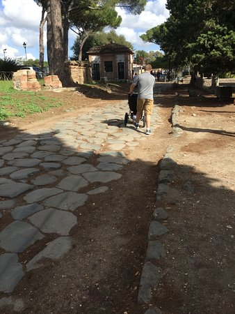 Ostia Antica, Italia: Ancient roads can be tough on strollers