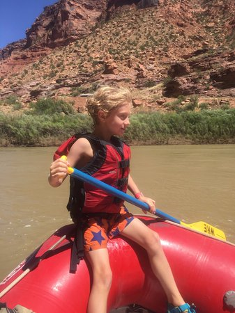 "Moab Adventure Center - Day Tours: The guides even let my son ""captain"" the boat for a little while!"