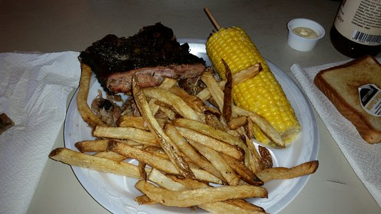 fresh cut fries, pulled pork, and ribs