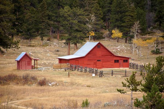 Nederland, CO: Close up of Caribou Ranch recording studio from main trail