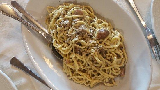 Pizzoferrato, Italien: spaghettoni con noci e funghi