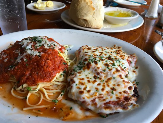 Tony's Pasta Shop & Trattoria: The Eggplant Parmesan comes with a side of Spaghetti.