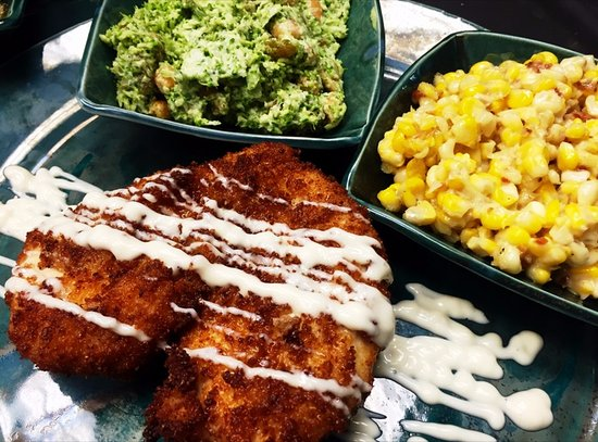 Lebanon, TN: Corn Bread Fried Chicken, White Alabama BBQ Sauce, Sides - Broccoli Slaw, Fried Corn