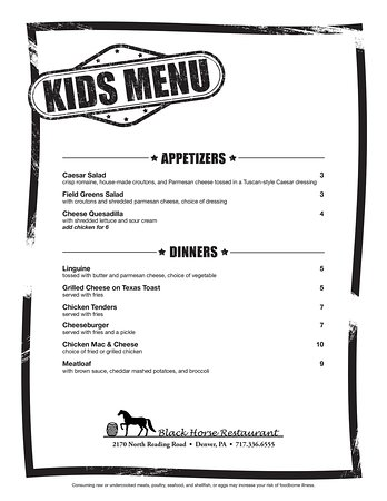 Denver, Pensilvania: Kids Menu