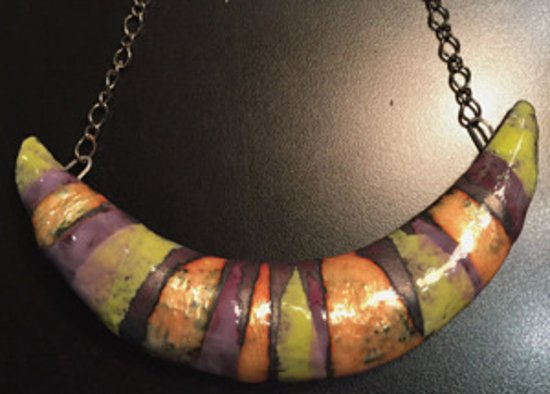 Menomonee Falls, WI: One of a kind copper enamal piece from Unserious Jewelry