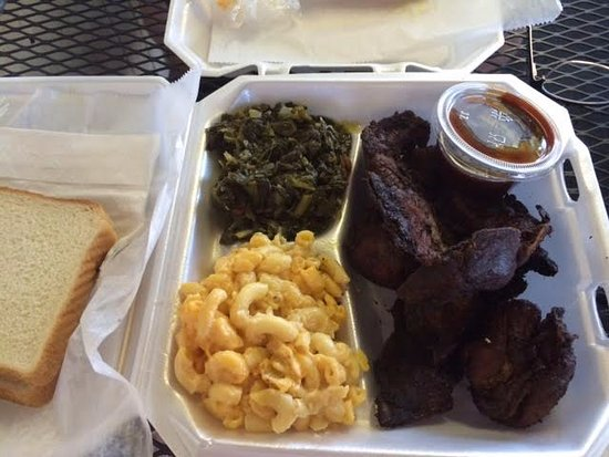 Rib tips, mac n cheese and turnip greens