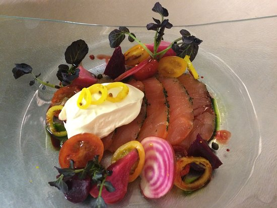Shepton Mallet, UK: Citrus cured salmon, confit tomato, textures of heritage beetroot