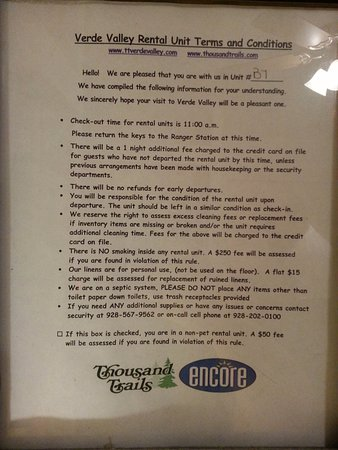 Cottonwood, AZ: Rules posted in each cabin/Cottage.