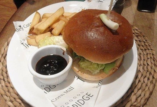 the turtley corn mill duck burger with hoisin sauce and chips