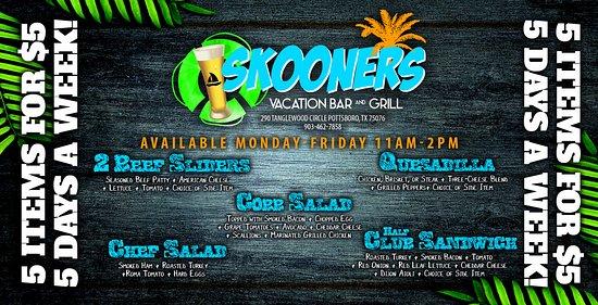 Pottsboro, Teksas: $5 Lunch Specials, Monday - Friday